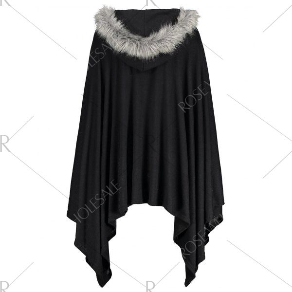 Asymmetric Faux Fur Panel Plus Size Cape Coat - Black 5xl Mobile