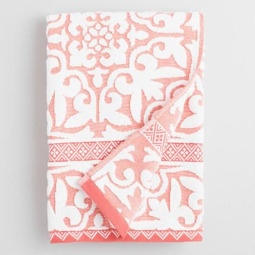 One of my favorite discoveries at WorldMarket.com: Coral and Ivory Ileana Tile Sculpted Cotton Bath Towel