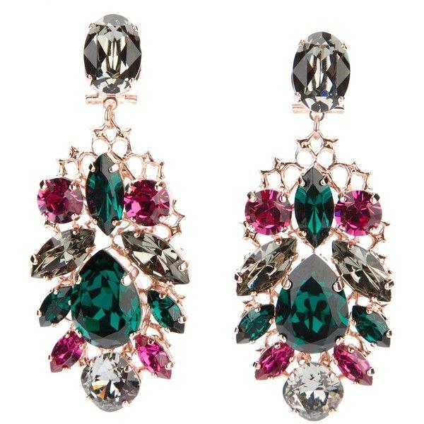 ANTON HEUNIS swarovski crystal earrings (930 BRL) ❤ liked on Polyvore featuring jewelry, earrings, accessories, joias, nakit, pink crystal earrings, crystal stud earrings, pink stud earrings, drop earrings and crystal earrings