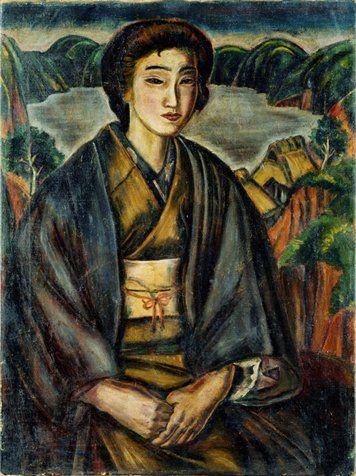 MURAYAMA Kaita 村山槐多, Lake and Woman 《湖水と女》 1917年(大正6). Pola Museum of Art.