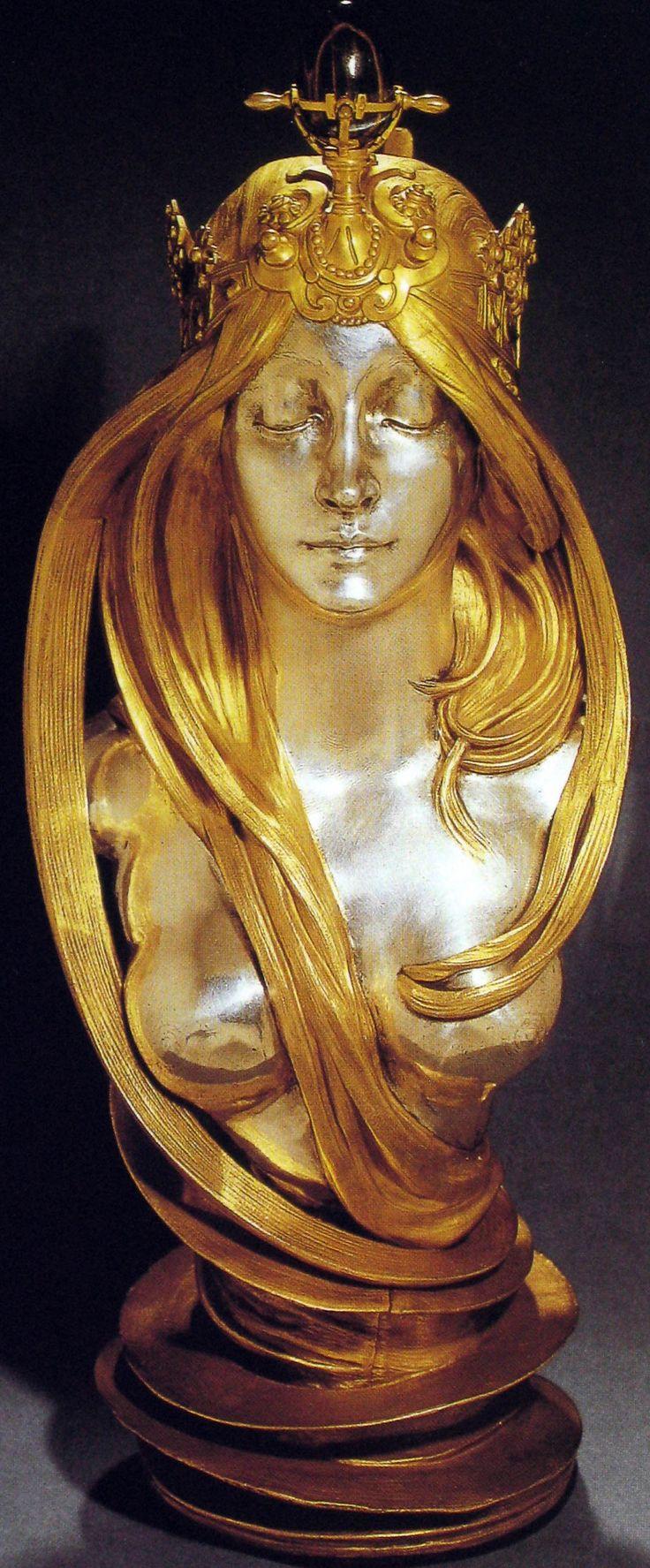 Alfons Mucha - Buste 'La Nature' - Bronze Patiné Doré et Argent - Vers 1900.