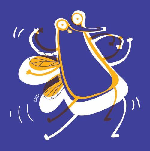 Mucha, Basia Grzybowska illustration // #illustration #duotone #blue #orange #art #cartoon #dancing #happy #artist #poster