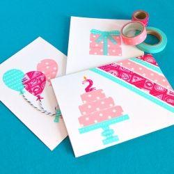 Grab your favourite washi tape & make washi tape birthday cards!