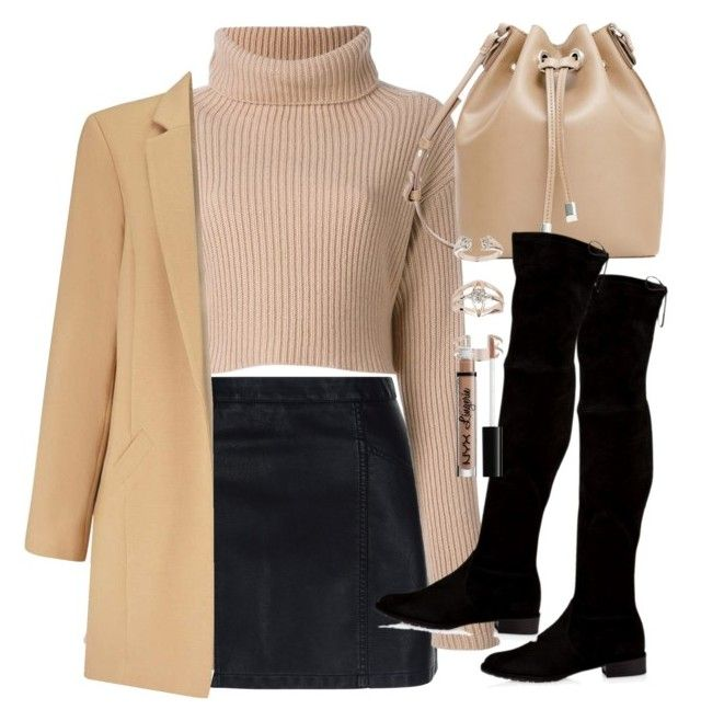 """""""Outfit for winter with a leather skirt and high boots"""" by ferned ❤ liked on Polyvore featuring New Look, Valentino, Miss Selfridge, Stuart Weitzman, MANGO, Topshop and NYX"""