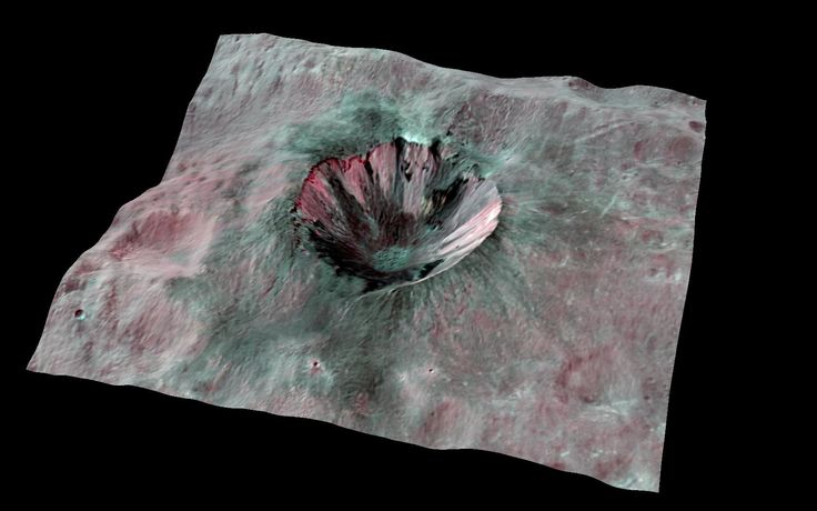 A new 3D photo from NASA's Dawn spacecraft reveals a stunning glimpse inside a massive crater on the huge asteroid Vesta. #astronomy