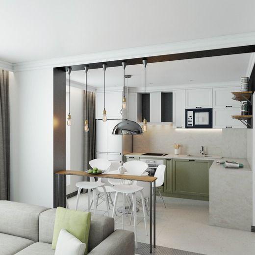 Однокомнатная квартира в скандинавском стиле. Кухня