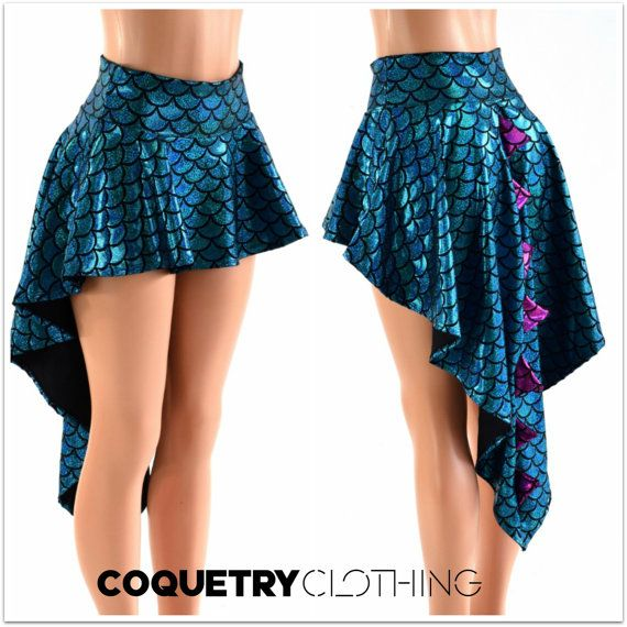 Holographic Dragon Tail Skirt in Turquoise by CoquetryClothing