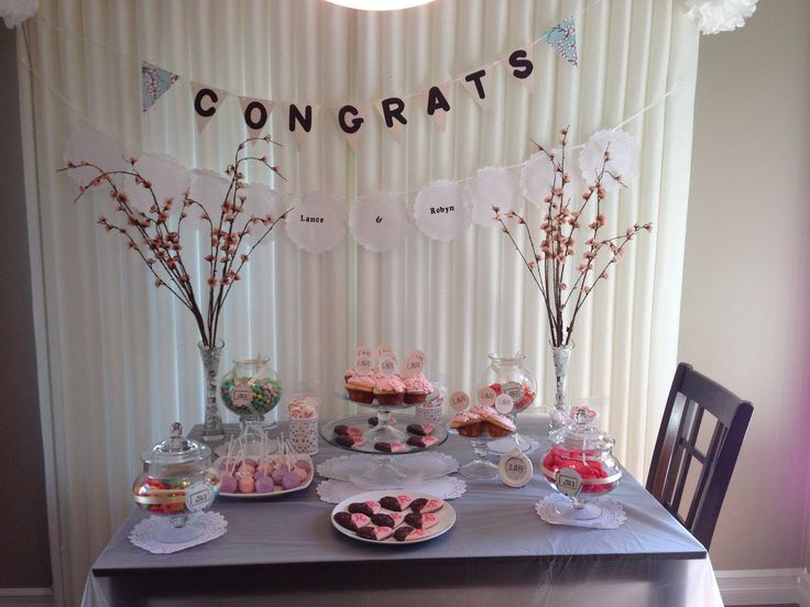 Cherry blossom engagement candy table