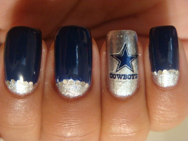 67 best dallas cowboys nail art images on pinterest dallas dallas cowboys nail art i just like the combo of the silver glitter half moon and the navy blue tips prinsesfo Gallery
