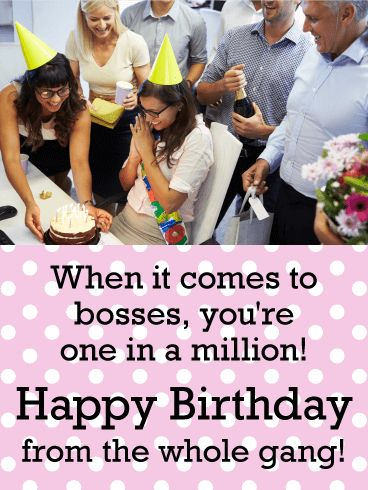 You are one in a Million! Happy Birthday Card for Boss: It's your boss's birthday. Time to get out the party hats, cake & gifts and celebrate this one-in-a-million team leader in the biggest and best way possible! This colorful card is a great reminder of how special they are to everyone and how much it means to be able to surprise them for all their hard work and dedication every day.