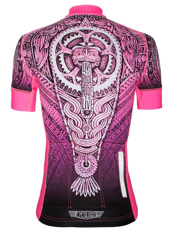 Aztec (Pink) women's cycling jersey from Cycology. Available now.  FREE SHIPPING ON ALL ORDERS