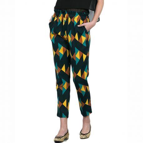 Azteca Pantalon Negro Estampado de Cia Fantastica