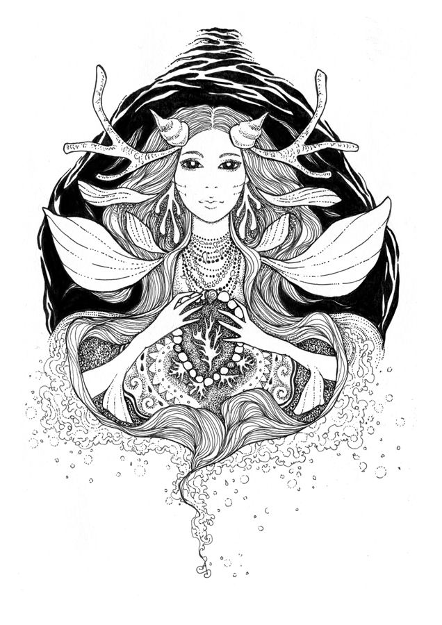 """""""Jewel of the Ocean"""" Ink drawing by Alice Savage. Magic, Mermaid, Art"""