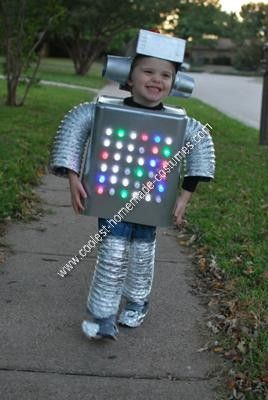 Homemade Robot Kids Halloween Costume: My 3-year-old son said he wanted to be a robot for Halloween, so I knew I was going to have to make a homemade Robot kids Halloween costume. Wastebasket