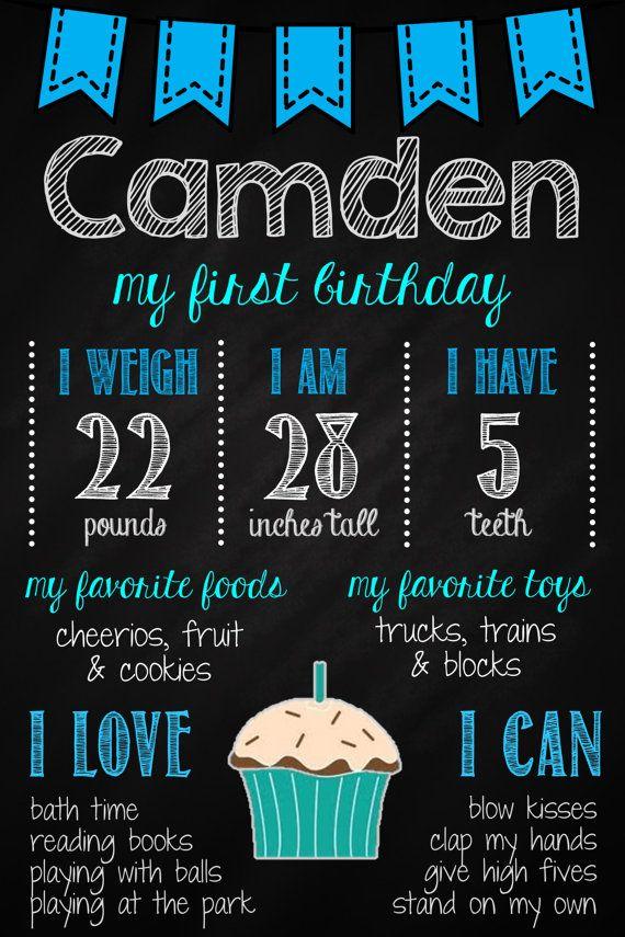 Boy's 1st Birthday Chalkboard Poster // First by MsThirdGrade