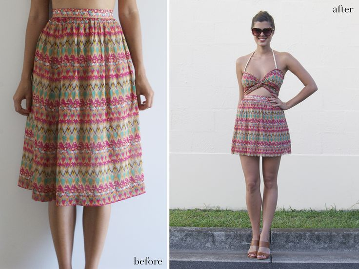 Skirt to dress tutorial @Hannah Mason I could see you in this!: Midi Skirts, Summer Dresses, Cutout Dresses, Diy Fashion, Cutoutdress, Long Skirts, Thrift Stores, Diy Clothing, Cut Outs