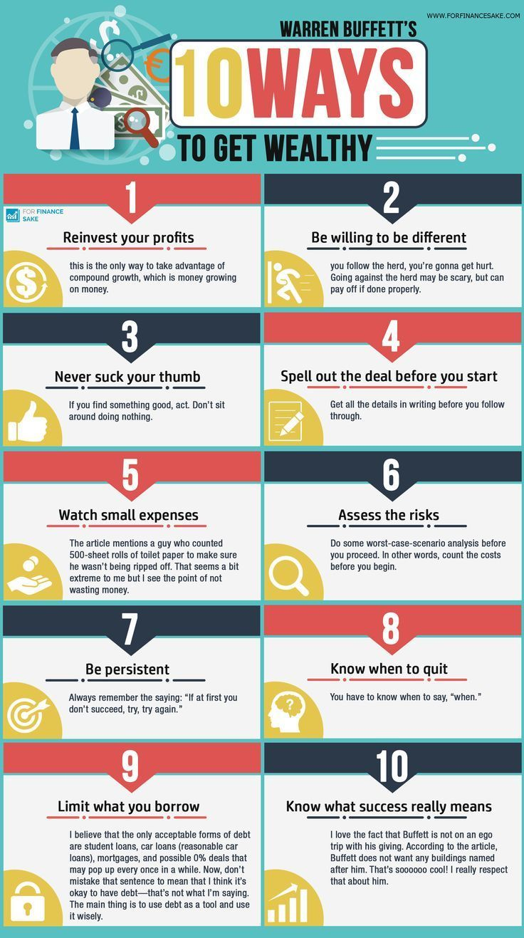 Info Graphic Warren Buffett S 10 Ways To Get Wealthy For Finance Sake Finance Investing Finance Trade Finance