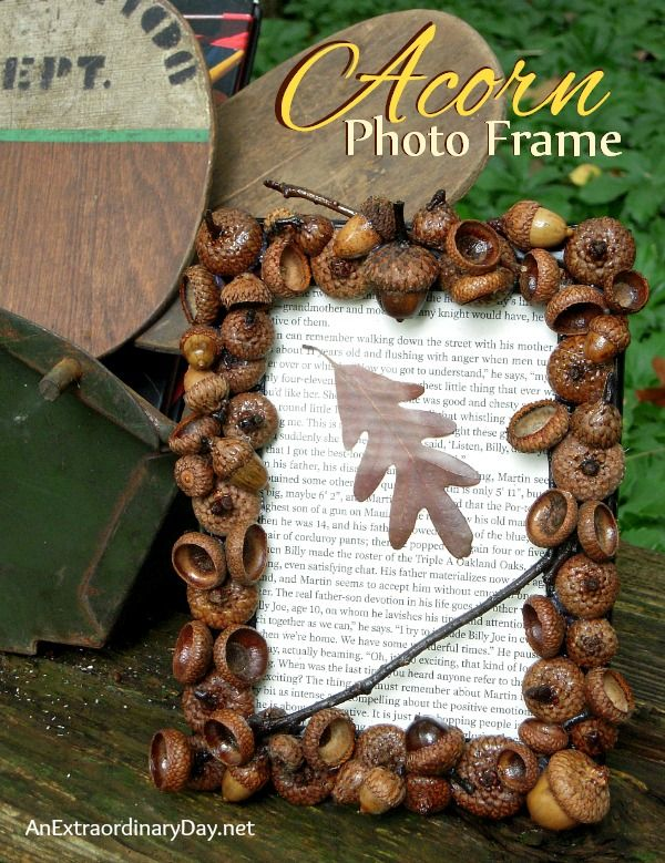 What to do with that plethora of acorns in the yard? Create a DIY Acorn Photo Frame. Make several and give them for gifts with a fall family photo.