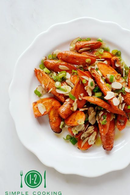 Веганский Нежданчик: Салат с печеной морковью, зеленым луком и миндалем...