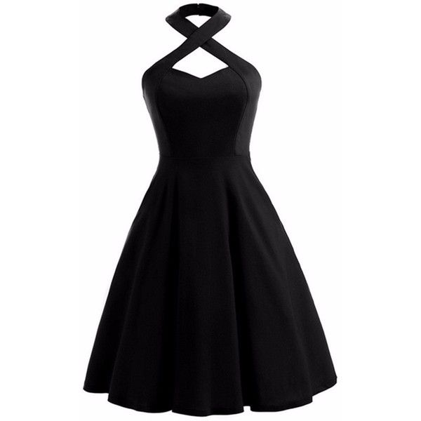 Samtree Halter Dress for Women, Vintage Fit and Flare Swing Cocktail... ($22) ❤ liked on Polyvore featuring dresses, vintage cocktail dresses, fit-and-flare dresses, halter evening dress, halter cocktail dress and holiday cocktail dresses