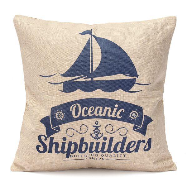 5 Pattern Mediterranean Style Fashion Cotton Linen Beige Pillow Case Home Sofa Decor
