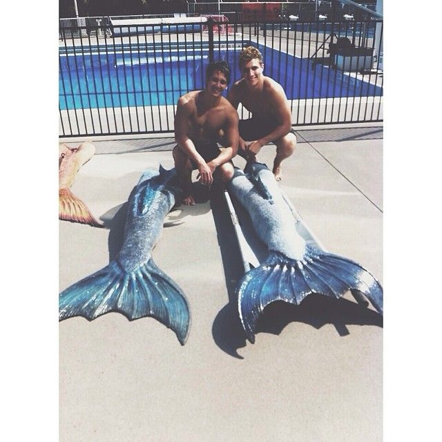 Mako Mermaids - Alex and Chai hanging out with their tails.