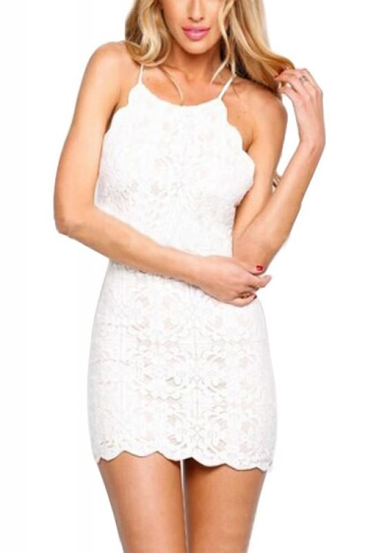 Backless Spaghetti Strap Sleeveless Lace Bodycon Dress