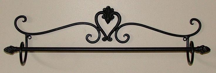 Wrought Iron Rustic Towel Rail - Wall Bathroom Heart Design - Black Brown - BA08
