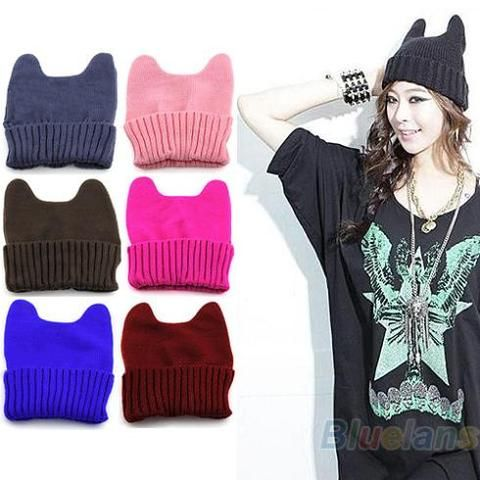 2013 New Fashion Soft Cute Women Girl Warm Winter Cat Ear Shape Knitted Hat…