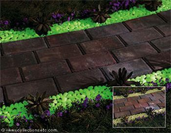 Solar powered pebbles will light up your pathway or make your backyard garden glow at night....better cool!Ideas, Work Looks, Gardens Paths, Dark Pebble, Garden Paths, Backyards Design, Glow Stones, Backyard Designs, Backyards Gardens