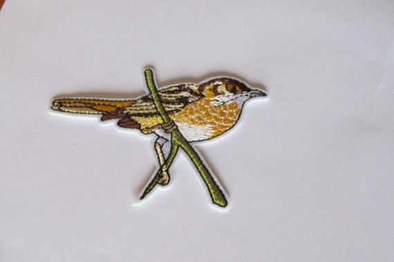 Bird patch  Yellow and brown thrush iron or sew on
