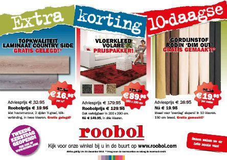 Sterk: Je ziet gelijk dat het een korting flyer van de Roobol is, met de prijzen er ook groot op.  Zwak: Er staan niet heel veel producten is dus je ziet niet goed over wat het gaat.