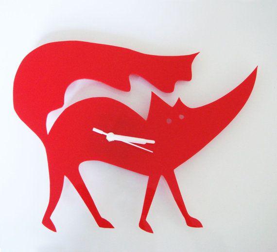 Matthew the Red Fox clockKids Room, Foxes Clocks, Foxy Time, Foxes Acrylics, Wall Clocks, Furniture Design, Red Foxes, Bad Wolf, Acrylics Clocks