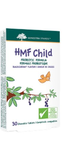 HMF Child Probiotics by Genestra HMF Child probiotic formula is a moderate-level probiotic combination providing Lactobacillus acidophilus, Bifidobacterium bifidum, Lactobacillus paracasei, Lactobacillus salivarius and Bifidobacterium animalis subsp. lactis, and it is essential to the maintenance of the child's healthy gut flora.