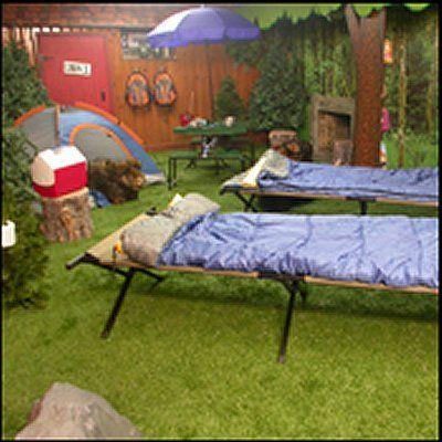 back yard camping theme bedroom love mural, backpack hooks, tent ...