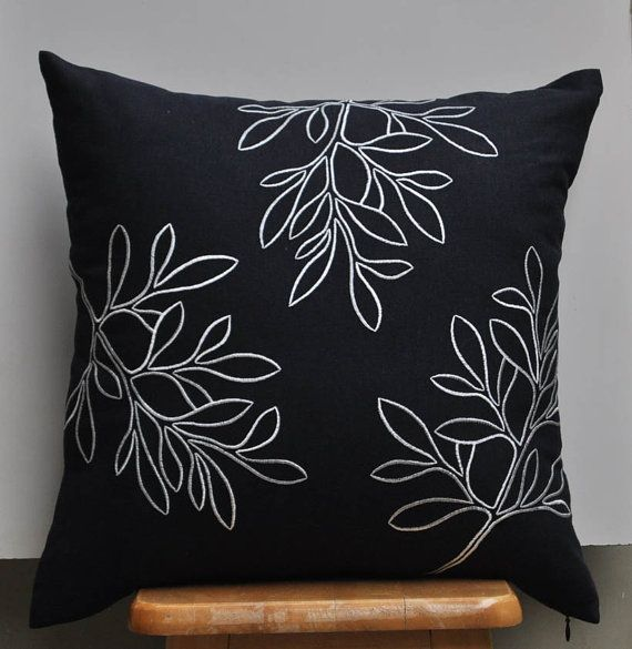 Leaves Pillow Cover, Decorative Pillow, Accent Pillow, Couch Pillow, Floral Pillow, Blue Black Linen, Off White Leaves, Embroidered Cushion