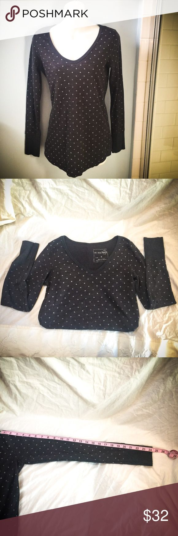 "Free People Long Sleeve Waffle Top EUC Free People gray 'waffle' textured long sleeve top with polka dots. Fabric is 50% cotton 50% poly. There are no holes or wear visible. I wore this with no problem even though I'm usually a M - it's long and slim (see pics with measurements). The polka dots have a variegated ""texture"" - as if distressed - this was intentional, the shirt came this way new from the store. It looks cool because then the polka dots don't look clownish like they would if they…"