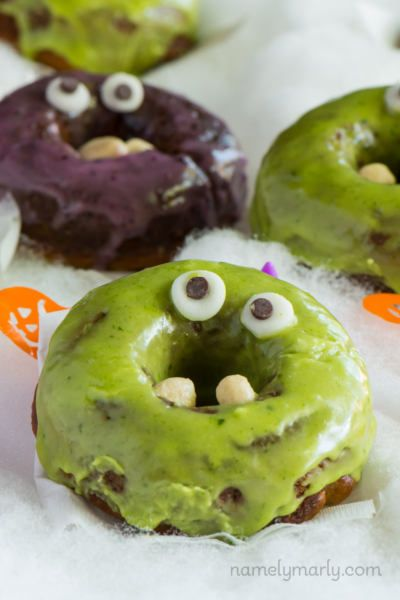 Vegan Halloween monster donuts