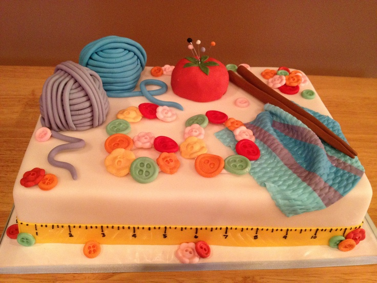 Knitting Cake Ideas : Knitting themed th birthday cake dads