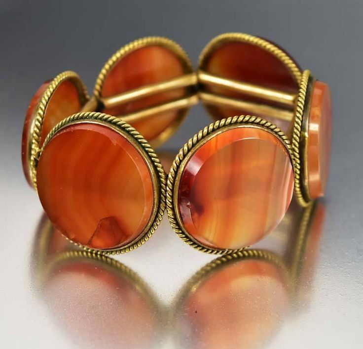 Victorian Scottish Carnelian Banded Agate Bracelet  #Gold #Bracelet #Agate #Carnelian #Victorian #Scottish #Band #Friendship #Puffy #Classics