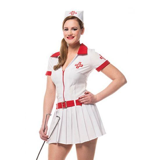 Verkleedkleding verpleegster dames  Sexy verpleegsters pakje voor dames. Het sexy verpleegster pakje bestaat uit een kort wit jurkje met rode accenten. Het sexy verpleegsters pakje is inclusief rode riem en een verpleegsters kapje.  EUR 49.95  Meer informatie