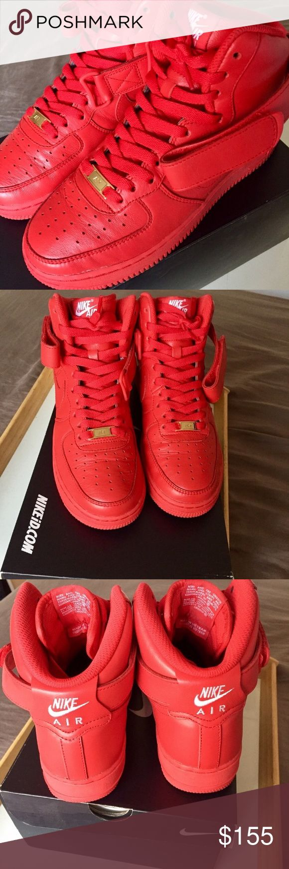 Air Force 1s HIGH (RED Nike IDs) Air Force 1s (Unisex) Light wear. WORN LESS THAN 10xs Size: 6 (Grade School) youth  Color: Red 100% Leather  Leather Straps Red Everything / Gold plated AF1 tabs   These are Nike IDs (customs) straight from the factory. This is not paint!!!!   Regular price $220  NO HOLDS. NO TRADES.    LOWBALLERS DO NOT COMMENT Nike Shoes Sneakers