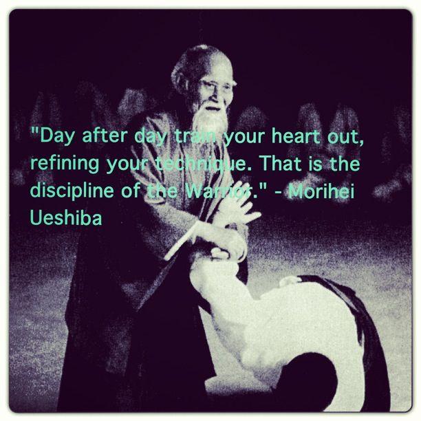 """""""Dia após dia, treinar até a exaustão, refinando a sua técnica. Essa é a disciplina do guerreiro."""" ~ Morihei Ueshiba"""