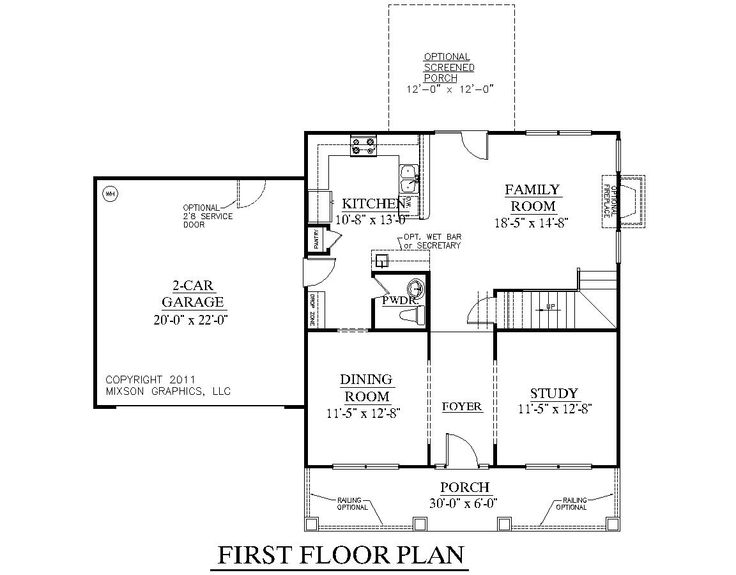 House plan 1883 a hartwell first floor plan 1883 square for Garage floor plans with bonus room