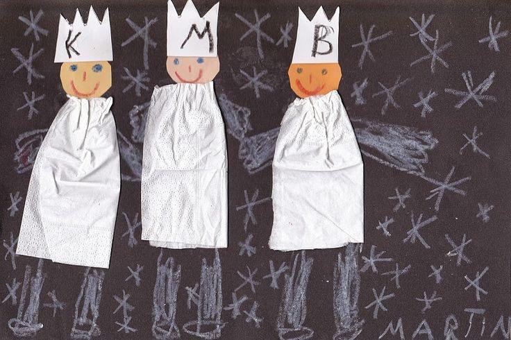 Tři králové z papírových kapesníčků + voskovka