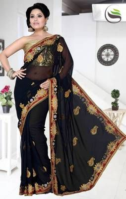Black color faux  georgette saree with blouse