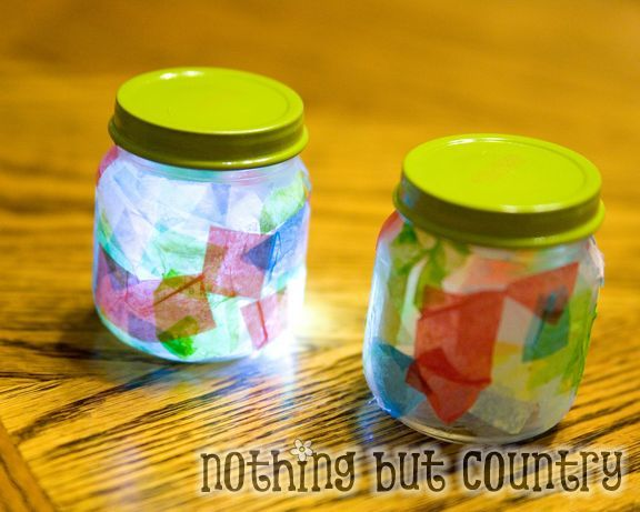Baby food jars + tissue paper + LED lights + craft-loving kids = beautiful stained glass night light! From @Mary Beth @ Nothing But Country Find the lights in the floral section or here: http://www.joann.com/submersible-light-12pk-clear/zprd_01552777a/