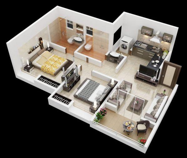 25 More 2 Bedroom Floor Plans