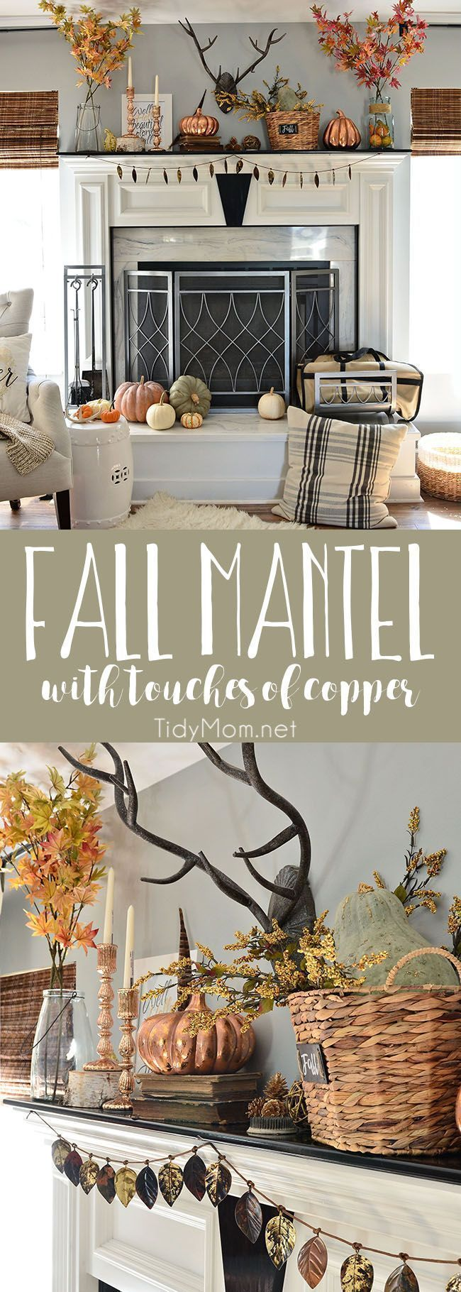 Fall Mantel with touches of copper and rosegold at http://TidyMom.net