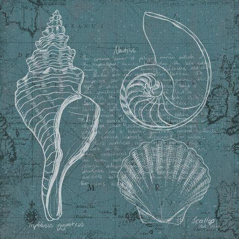 Coastal Blueprint I Schilderij van Marco Fabiano bij AllPosters.nl